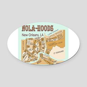NOLA-Hoods Oval Car Magnet