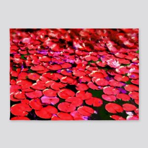 Painted Rds Lilly-pads 5'x7'Area Rug