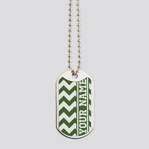 Personalized Green Tree Chevron Dog Tags