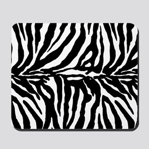 Zebra stripe, black & white Mousepad