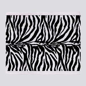 Zebra stripe, black & white Throw Blanket