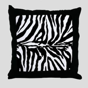 Zebra stripe, black & white Throw Pillow