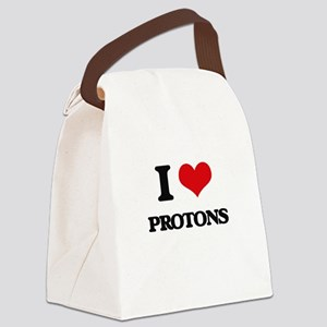 I Love Protons Canvas Lunch Bag