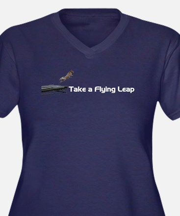 Flying Leap Women's Plus Size V-Neck Dark T-Shirt