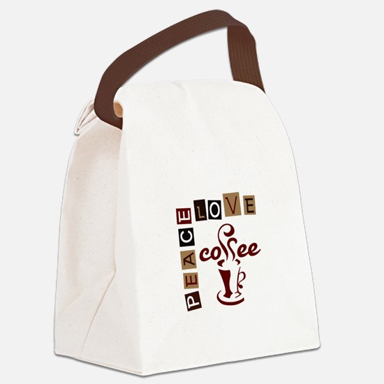 PEACE LOVE COFFEE Canvas Lunch Bag