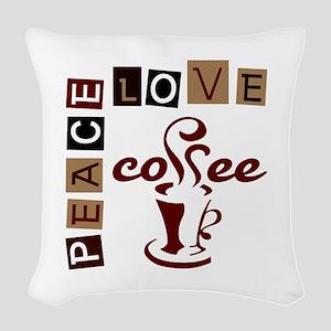 PEACE LOVE COFFEE Woven Throw Pillow