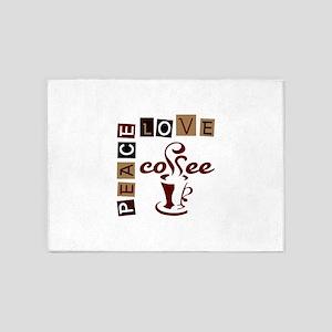 PEACE LOVE COFFEE 5'x7'Area Rug
