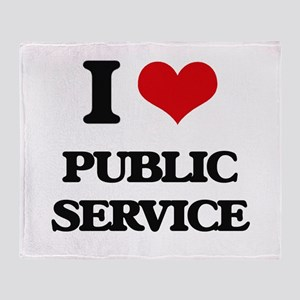 I Love Public Service Throw Blanket