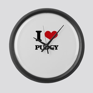 I Love Pudgy Large Wall Clock