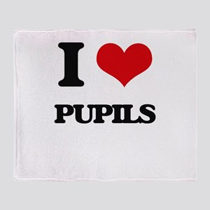 I Love Pupils Throw Blanket