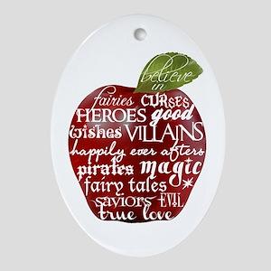 Believe In - Apple Ornament (Oval)