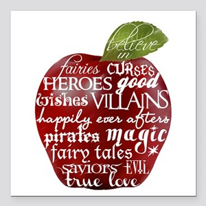 """Believe In - Apple Square Car Magnet 3"""" x 3"""""""