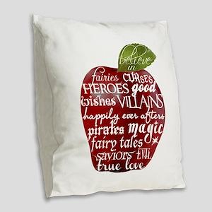 Believe In - Apple Burlap Throw Pillow