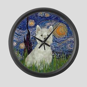 Starry - Westie (#8) Large Wall Clock