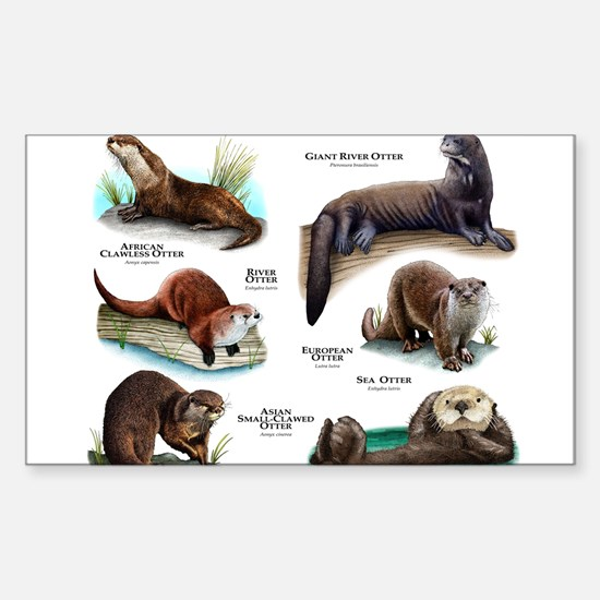 Otters of the World Sticker (Rectangle)