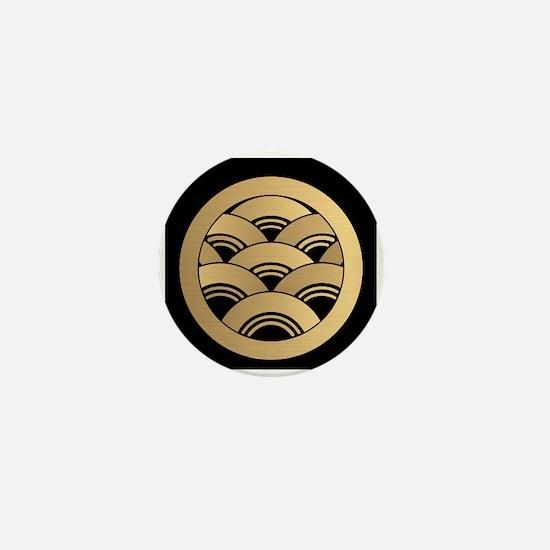 Golden Waves Japanese Kamon Mini Button