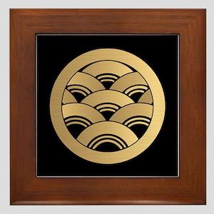 Golden Waves Japanese Kamon Framed Tile