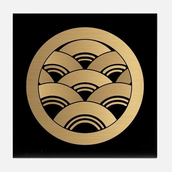 Golden Waves Japanese Kamon Tile Coaster