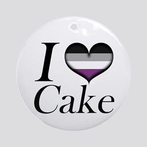 I Heart Asexual Cake Ornament (Round)