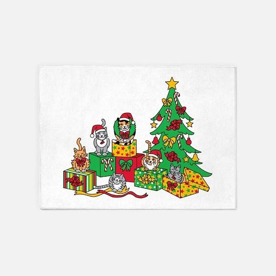 Christmas Cats 5'x7'Area Rug