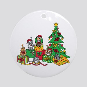 Christmas Cats Ornament (Round)