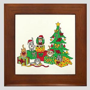 Christmas Cats Framed Tile