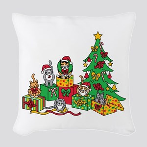 Christmas Cats Woven Throw Pillow