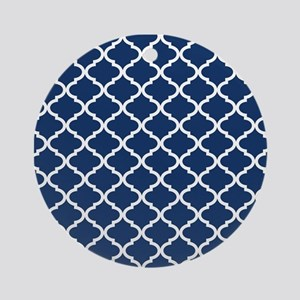 Navy Blue White Quatrefoil Patter Ornament (Round)