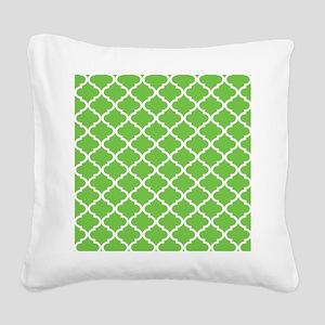Lime White Quatrefoil Pattern Square Canvas Pillow