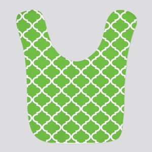 Lime White Quatrefoil Pattern Bib