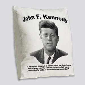 JFK Freedom Burlap Throw Pillow