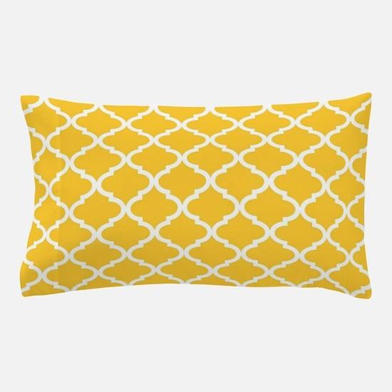 Yellow White Quatrefoil Pattern Pillow Case