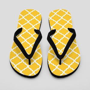 Yellow White Quatrefoil Pattern Flip Flops