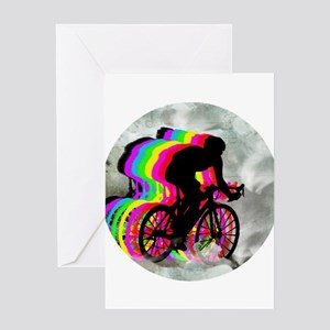 Cycling in the Clouds Greeting Cards
