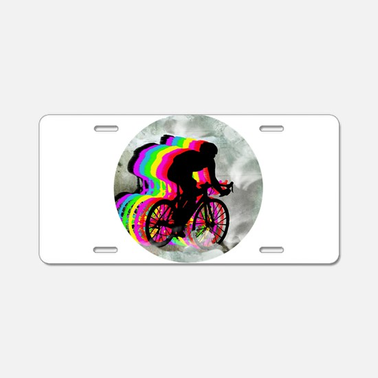 Cycling in the Clouds Aluminum License Plate