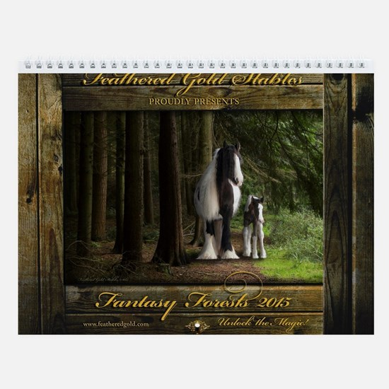 Feathered Gold Fantasy Forest Wall Calendar
