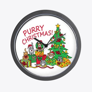 Purry Christmas! Wall Clock