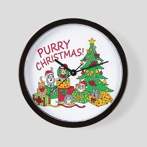 Purry Christmas! Wall Clock