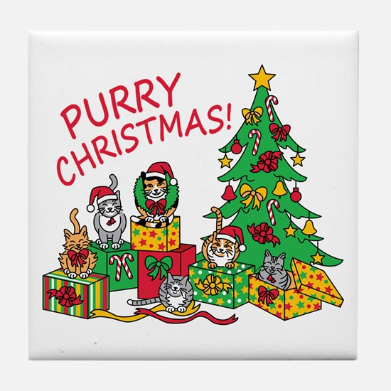 Purry Christmas! Tile Coaster