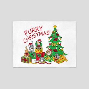 Purry Christmas! 5'x7'Area Rug