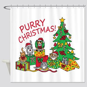 Purry Christmas! Shower Curtain