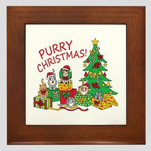 Purry Christmas! Framed Tile