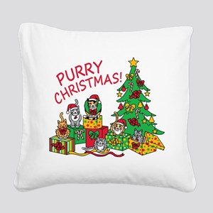 Purry Christmas! Square Canvas Pillow