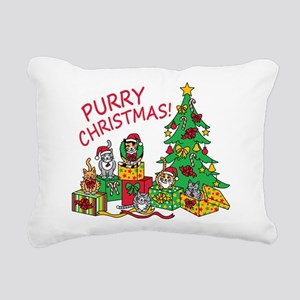 Purry Christmas! Rectangular Canvas Pillow