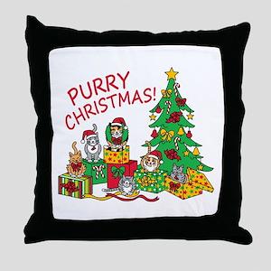 Purry Christmas! Throw Pillow