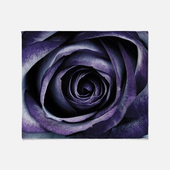 Blue Purple Rose Flower Throw Blanket
