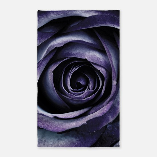 Blue Purple Rose Flower Area Rug