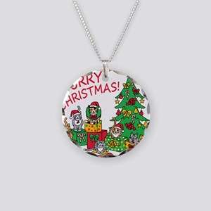 Purry Christmas! Necklace Circle Charm
