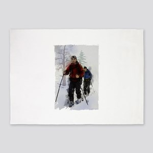 Cross Country Skiers Edges 5'x7'Area Rug