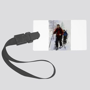 Cross Country Skiers Edges Large Luggage Tag